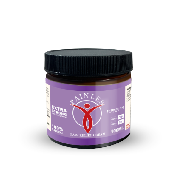 an image of pains pain relief topical cream. 100ml Bottle. Extra Strong Solution. 40mg of THC, 40mg of CBD