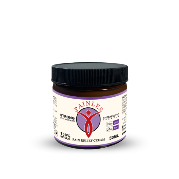 an image of pains pain relief topical cream. Strong Solution. 50ml Bottle. 20mg of THC, 20mg of CBD
